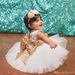 $enCountryForm.capitalKeyWord Australia - 2019 Cute Blush Pink Flower Girls Tutu Dresses with Big Sequined Bow Tulle Puffy Little Girls Ball Gowns For Wedding Party