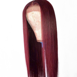 China Ombre 1B 99J Human Hair Lace Wigs Dak Root Virgin Brazilian Glueless Burgundy 99J Lace Front Wig Ombre Pre Plucked With Baby Hair cheap dark roots burgundy hair suppliers