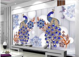 blue flowers background Canada - 3d luxury European peacock jewelry flower TV background wall blue peacock 3d wallpapers