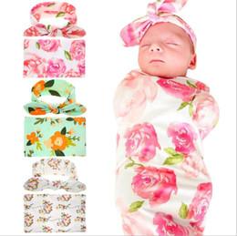 Pink Infant Bedding Australia - 2019 Infant baby swaddle Rabbit Ear Headband Set Printed blankets Newborn Photographed Wrap Receiving Blanket Bedding Sleep Sack