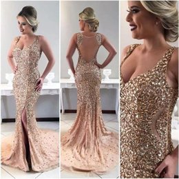 pageant little sexy girl dresses Australia - Luxury Bling 2019 Prom Dresses Sexy Sheer Back Champagne Split Formal Evening Gowns Mermaid Gorgoues Girls Pageant Dress