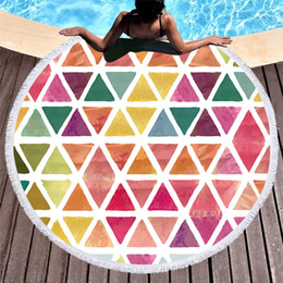 Discount circle beach towels - 1 Piece Large Round Beach Towel Adult Kids With Tassel Circle Blanket Geometric Printed Microfiber 150cm Colorful Yoga M