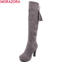 be0cc3a055c Fringe High Heel Shoes NZ - MORAZORA 2018 red newest knee high boots women  flock round