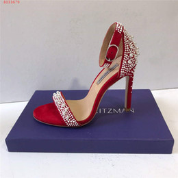 Wedding Dress Authentic NZ - Women Wedding dress shoes Pearl decoration Platform Classic sandals Wedges High Heels in Authentic Leather 10 cm Size 34-41
