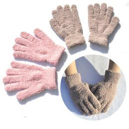winter football gloves Canada - Free DHL Solid Color Thicken Warm Gloves Winter Hand Warmer 6 Styles Unisex Plush Velvet Gloves Five Fingers Mittens For Girls Boys H928Q F