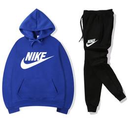 Vente en gros NIKE 2019 hommes survêtement décontracté sport costume veste pantalon à capuche sweat pantalon costume à capuche et pantalon ensemble pantalon de survêtement