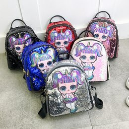 Gift set storaGe online shopping - Sequin Kids Toys designer lol dolls Backpack girls cartoon storage bags School Backpacks hop pocket christmas gifts bags LOL unicorn