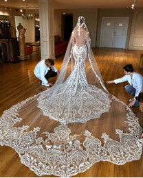 $enCountryForm.capitalKeyWord Australia - 1T One Layer Vintage Bridal Veils Cathedral Length Tulle 13m Long Lace Wedding Veils Hot Sale Bride Accessories With Free Comb