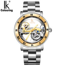 $enCountryForm.capitalKeyWord Australia - IK Solid Stainless Steel 50 M Dive Swimming Waterproof Transparent Skeleton luxury Business Men's Automatic Mechanical Watch