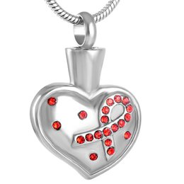 $enCountryForm.capitalKeyWord UK - Stainless Steel Ribbon on Heart Breast Cancer Memorial for Ashes Urn Keepsake Necklace for Love One with Chain Jewelry IJD8560