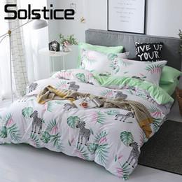 Bedding Set White Green NZ - Solstice Home Textile Twin Full Duvet Cover Pillowcase Flat Sheet Green Zebra White Bedding Set Kid Teen Girl Bed Linens 180*220