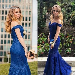 Pear Color Dress Australia - 2019 Mermaid Off Shoulder Lace Prom Dresses Sleeveless High End Quality Evening Party Dress Hot Sales