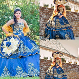 girl dresses blue embroidery Australia - Mexican quinceañera Luxury Detail Gold Embroidery Quinceanera Dresses 2019 Masquerade Ball Gown Royal Blue Sweety 16 Girls Prom Party Dress