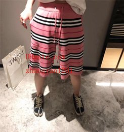 Knee Length Clothing Australia - 2019 new summer shorts pants unisex Pink striped pants beach swim shorts Knee Length Loose shorts pants summer men women clothes ABC-9