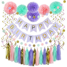 Purple Gold Birthday Party Decorations Australia - 39 Piece Birthday Decorations Sets Happy Birthday Banner Spiral Pendant Party Decoration Set in Pink Gold Purple & Mint Colors