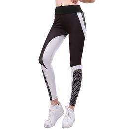 $enCountryForm.capitalKeyWord Australia - CHRLEISURE White Black Printed Yoga Pants Women Fitness Leggin High Elastic Yoga Pants Women Sport Leggings Tight Push Up