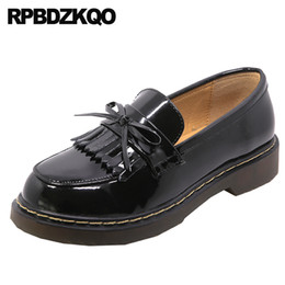 $enCountryForm.capitalKeyWord Australia - black low heel fringe tassel elevator patent leather women flats shoes with little cute bowtie loafers round toe japanese school