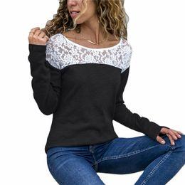 1d16e03c818945 Women Lace Blouse Casual Long Sleeve Tops Tunic O-Neck Patchwork Blouses  Shirts Ladies Tops Plus Size Blusas Chemisier Femme