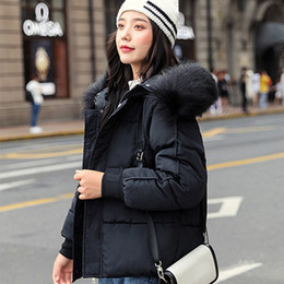 ladies short black cotton jackets NZ - 2019 Winter Hooded Parkas Women Big Fake Fur Down Cotton Jacket Coat Ladies Warm Loose Cotton Padded Coats Female Short Overcoat T190918