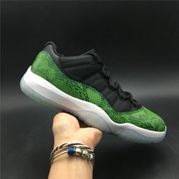 online store 41f5f c486f low top tennis shoes 2019 - New Custom 11 Low Green Snakeskin Man  Basketball Designer Shoes