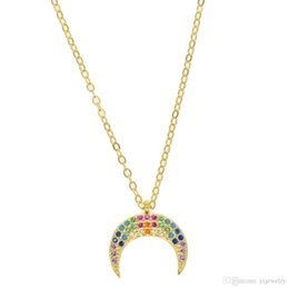 Necklace For Christmas Gift Australia - 2018 new arrived jewelry for Christmas gift Rainbow CZ colored stone crescent moon Hord charm 925 sterling silver pendant necklace