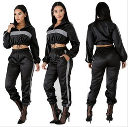 Camping Products Australia - Home> Apparel> Women's Clothing> Women's Tracksuits> Product detail New Fashion Reflective Tracksuit 2 Two Piece Set Women Clothes Black C