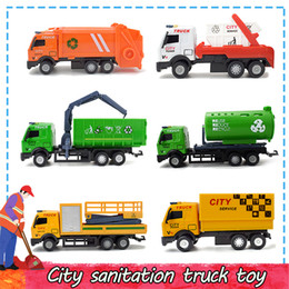toys city NZ - Alloy Die-cast City Clean Cars Toys for Kids Inertial Pull Back Urban Transport Vehicle Model Home Decoration Educational Preschool Toys