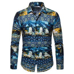 China Mens Shirts Turn-down Collar Long Sleeve Shirt Men New Arrival Casual Male Blouse Fashion Floral Clothes Slim Fit Korean Style cheap new arrival fashion korean shirt suppliers