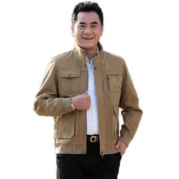 $enCountryForm.capitalKeyWord Australia - Spring Autumn Men Leisure Coat Khaki Army Green Casual Cotton Outerwear Male Stand Collar Multi Pocket Design Jacket Man Costume