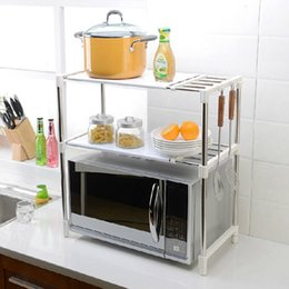 multifunctional kitchen rack Australia - Stainless Steel Adjustable Multifunctional Microwave Oven Shelf Rack Standing Type Double Kitchen Storage Holders T200413