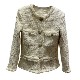 $enCountryForm.capitalKeyWord NZ - Goodlishowsi 2019 Winner Casual Fashion Women Tweed Slim Coat Top Solid Single Breasted Diamonds Buttons O-Neck Full Sleeve