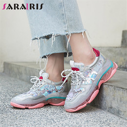 Ladies Flat Silver Shoes NZ - SARAIRIS New Big Size 35-40 Ladies Genuine Leather Women Sneakers Bling Flat Platform Shoes Woman Casual Soft Autumn Flats