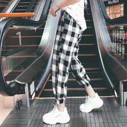 $enCountryForm.capitalKeyWord NZ - New Fashion Women Autumn Casual Pants Clothes Black White Plaid Female Harem Pants Loose Drawstring Pants Clothing