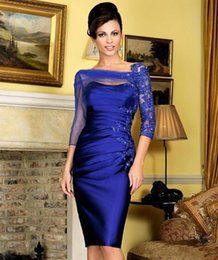 royal blue mother wedding dress Australia - Royal Blue Short Mother of the Bride Dresses Applique 3 4 Long Sleeves Wedding Party Gowns Knee Length Evening Prom Dress