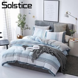 Wholesale Solstice Home Textile Blue Stripe Nordic Simple Bedding Set White Gray Duvet Cover Pillowcase Sheet Boy Teen Girl Bed Linen Kits