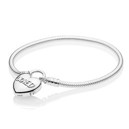 $enCountryForm.capitalKeyWord Australia - Authentic 925 Sterling Silver Smooth Bracelet With Loved Heart Padlock Clasp Bracelet Bangle fit Lady Charms Jewelry