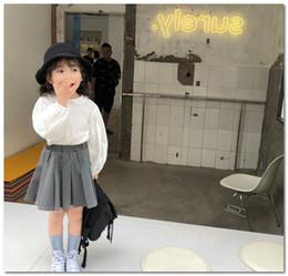 Wholesale skirt woolen high waist resale online - Girls princess outfits kids doll lapel long sleeve shirt high waist pleated skirt sets spring new children clothing J1992