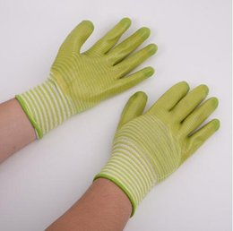 Static work online shopping - Stripe Work Safety Gloves PVC Nylon Latex Antiskid Mesh Gloves Esd Anti Static Working Protective Gloves pair CCA10933 pairs