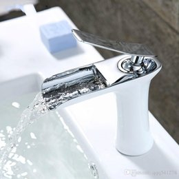 $enCountryForm.capitalKeyWord Australia - Bathroom Basin Faucet Waterfall White Baked Paint Faucet Chrome Finish Hot Water deck mounted Sink Mixer Tap