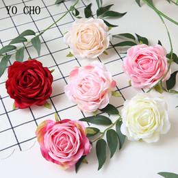 Artificial Red White Rose Head Australia - YO CHO Artificial Rose Flower Heads DIY Crafts Flower Arranging Accessories Silk Rose 9cm Home Wedding Party Flower WallGarden Decor