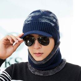 Male Hat Scarf Australia - Men Winter Hat And Scarf 2 Pcs Set For Women Scarves Cap With Brim Knit Visor Skullies Beanies Male Warm Caps Balaclava