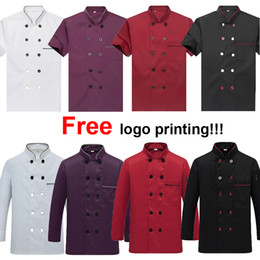Polices clothes online shopping - Free Logo Printing Unisex Chef Uniform Food Service Cook Jacket Coat Solid Man Kitchen Restaurant Bakery Clothing Shirt