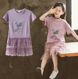 Reindeer Color Australia - Big girls dresses kids letter flowers reindeer printed princess dress children short sleeve splicing polka dots lace tulle dress F7485
