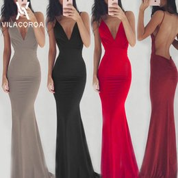 v dresses NZ - Hot Fashion Sexy Solid Color Spaghetti Strip Sleeveless Backless Party Dress Women V-neck Fishtail Maxi Dress Vestidos De Fiesta MX190727