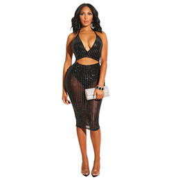 $enCountryForm.capitalKeyWord UK - Silver Sequin Sheer Mesh Bodycon Dress Women Waist Band Cut Out Backless Bar Party Dress Elegant Deep V Neck Halter Sheath Dress NZK-1642