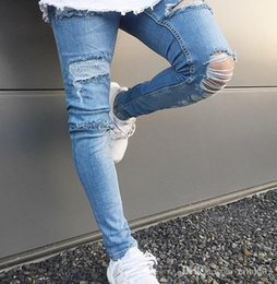 Legging Destroyed Australia - New Men Spandex Stretch Elastic Jeans Leg Ripped With Hole Distressed Destroyed Fashion Casual Jeans