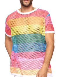 Malha Tops Mens Designer Tshirts solto luva Rainbow Color oco Out Shoert Tshirts Mens Crew Neck capuz