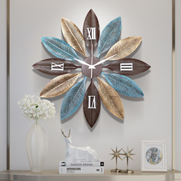 arts crafts clocks Australia - American Wrought Iron Decorative Clock Wall Hanging Crafts Leaf Wall Decoration Pendant Home Livingroom Mural Ornaments Art
