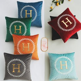 h case NZ - Retro H Letter Pattern Pillow Covers High-end Embroidered Pillows Aulic Style Sofa Throw Pillow Case Home And Car Pillow Covers Size 45*45cm