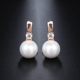 2f0cc871e Davieslee White Pearl Stud Earrings For Women 585 Rose Gold Filled Paved Cubic  Zirconia Womens CZ Earring Fashion Jewelry DGE128